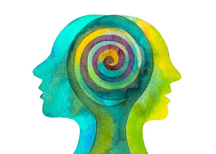blue and green spiral brain