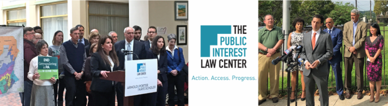 Images of law center attorneys speaking at press conferences with our logo in the center