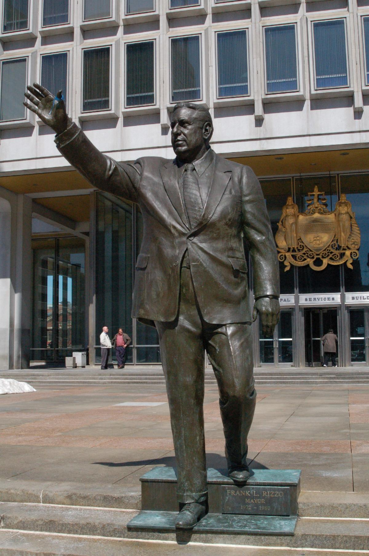 The statue of Frank Rizzo at the Municipal Services Building_ which was removed on June 3
