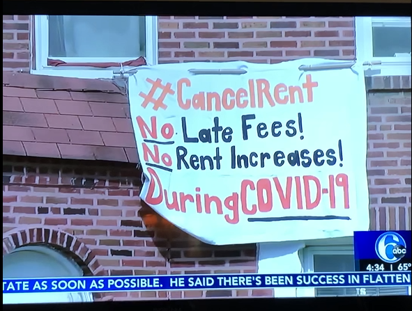 A banner from a socially distant protest shown on 6ABC news
