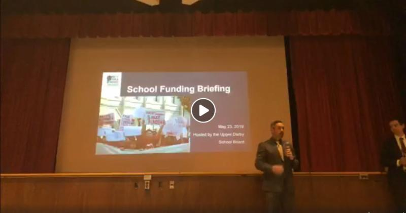 Screencap of Facebook live video of the School Funding briefing