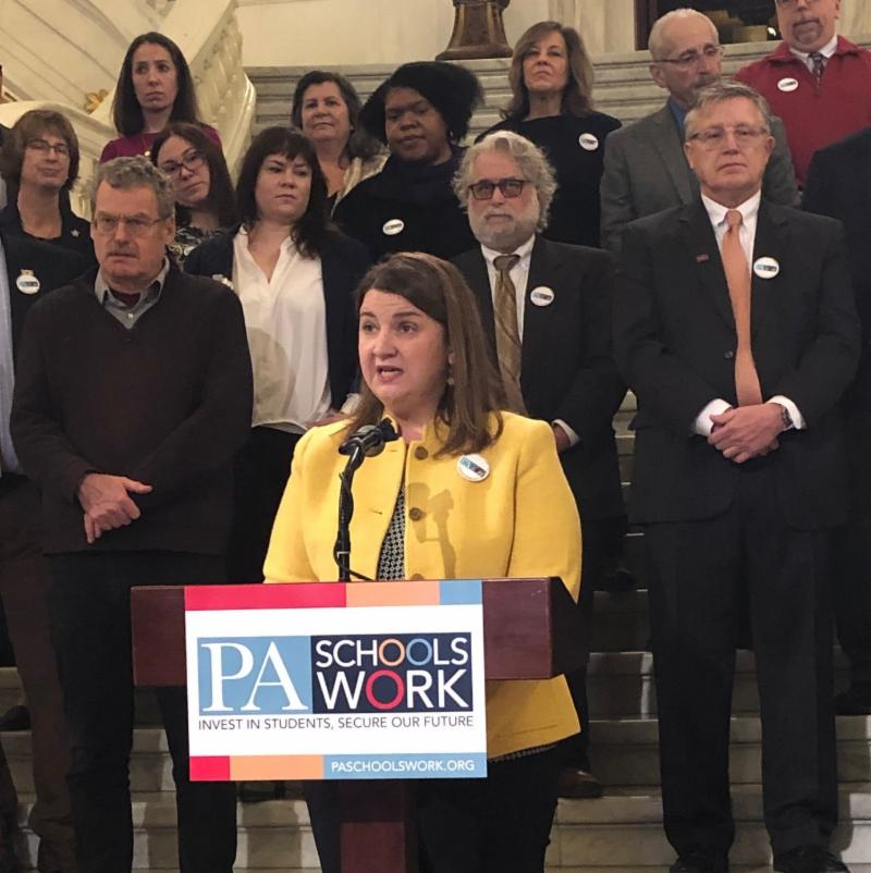 On January 30th_ PA Schools Work held a press conference calling on Gov. Wolf to make bold investments in education in his upcoming state budget. Above_ Kari King of PA Partnerships for Children speaks.