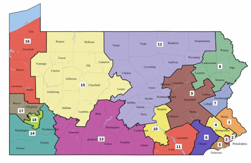 The congressional district map established for the 2018 primary and general elections.