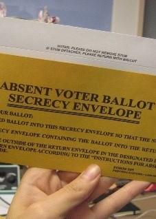 An absentee ballot envelope