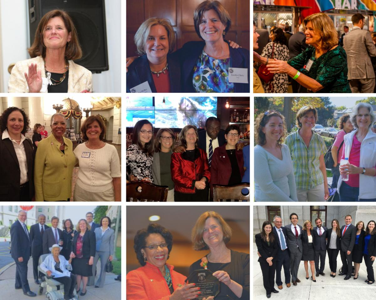 A collage of photos of Jenny throughout her tenure as Executive Director