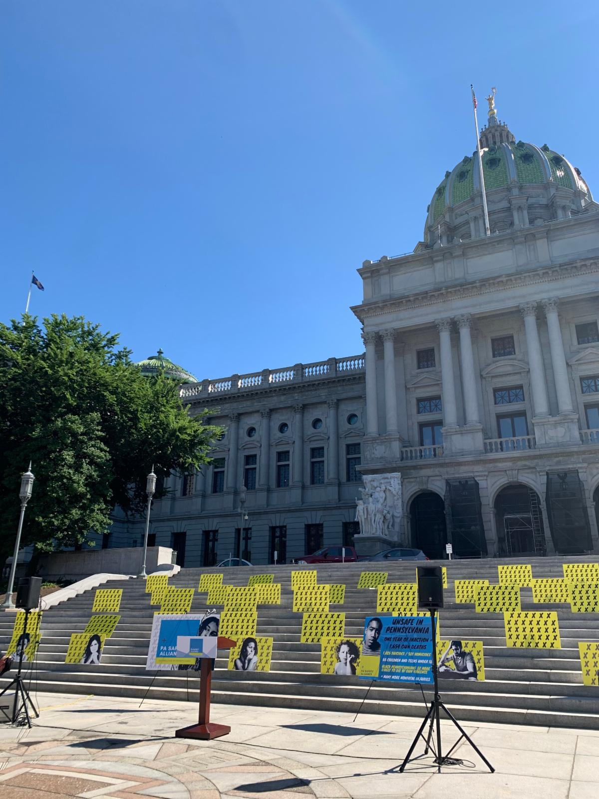 The launch of the PA Safety Alliance in Harrisburg. Each x represents a Pennsylvanian lost to gun violence.