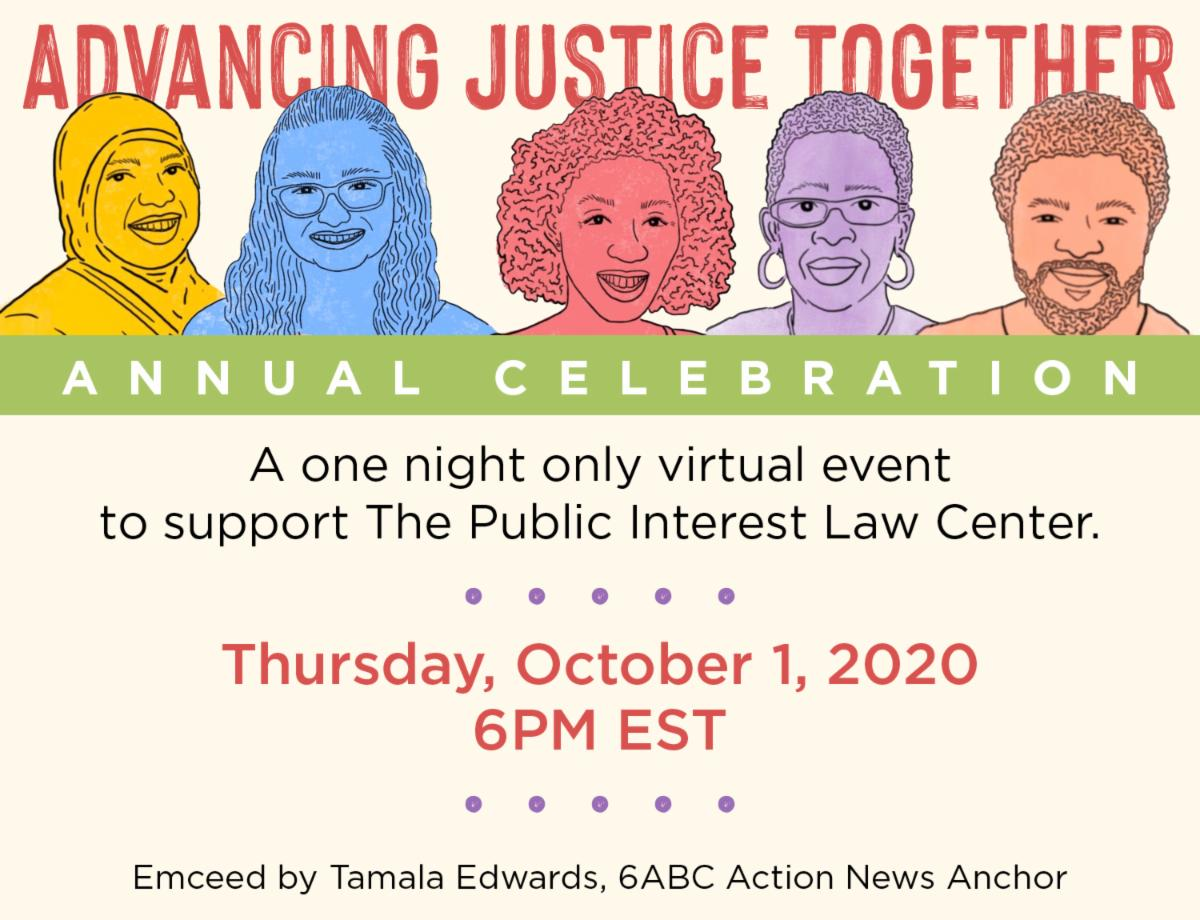 Advancing Justice Together_ A one night only virtual event to support the public interest law center. Illustrations of Law Center clients