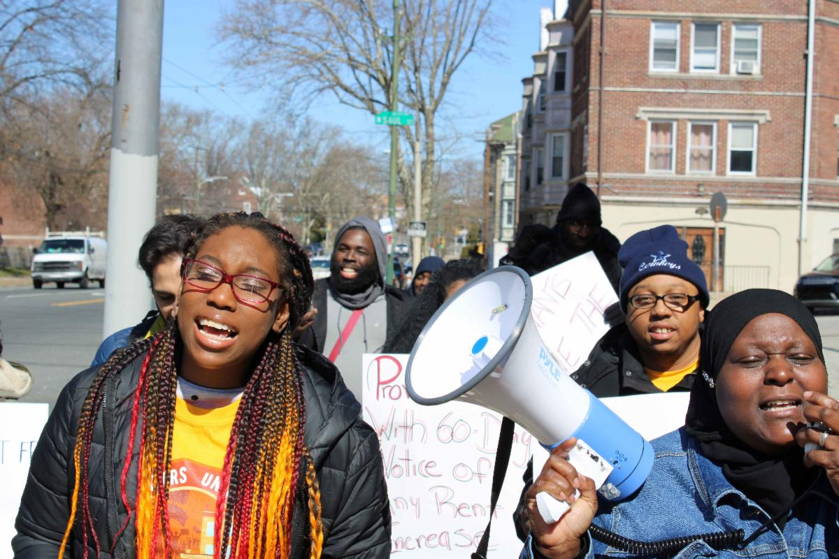 Renters United Philadelphia members protest unsafe housing on March 7_ 2020