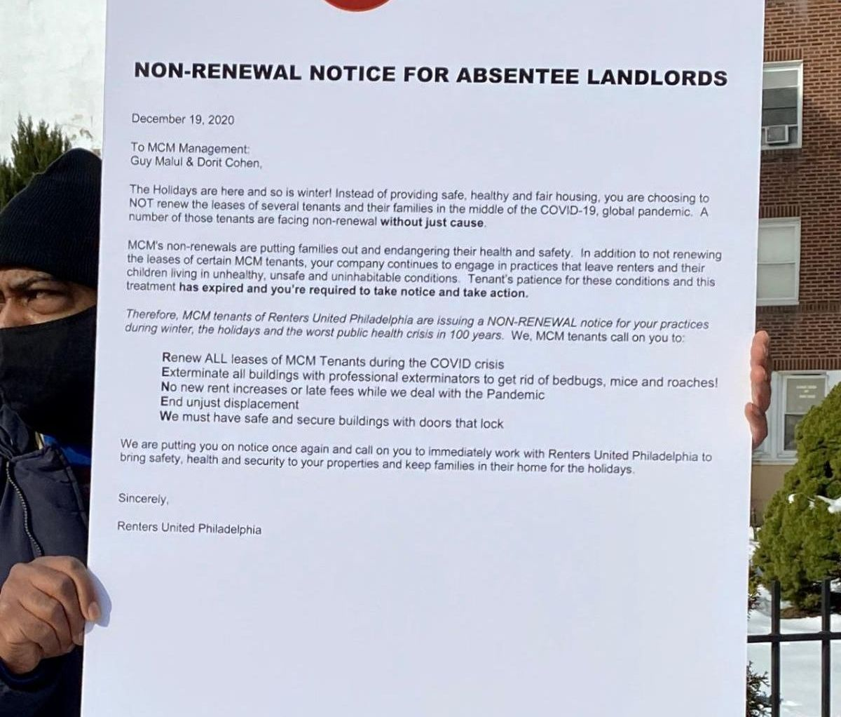 RUP presented MCM Management Solutions with a Non-Renewal Notice for Absentee Landlords at an action on December 19_ 2020