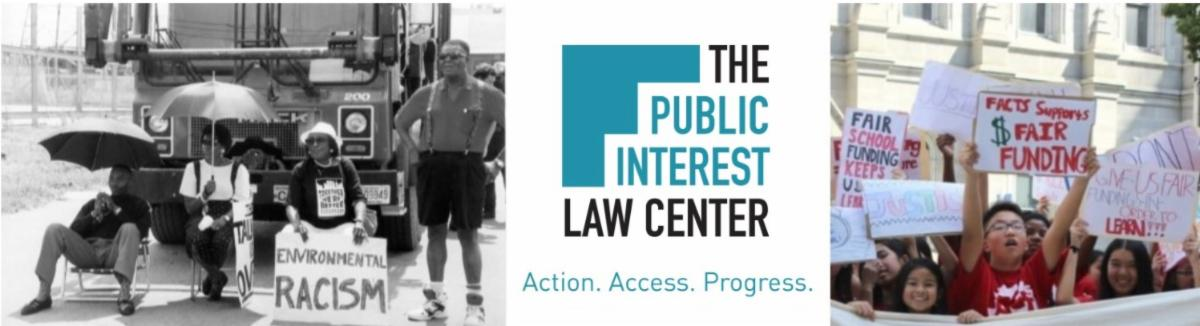 The Public Interest Law Center banner with images of environmental justice protest and school funding protest