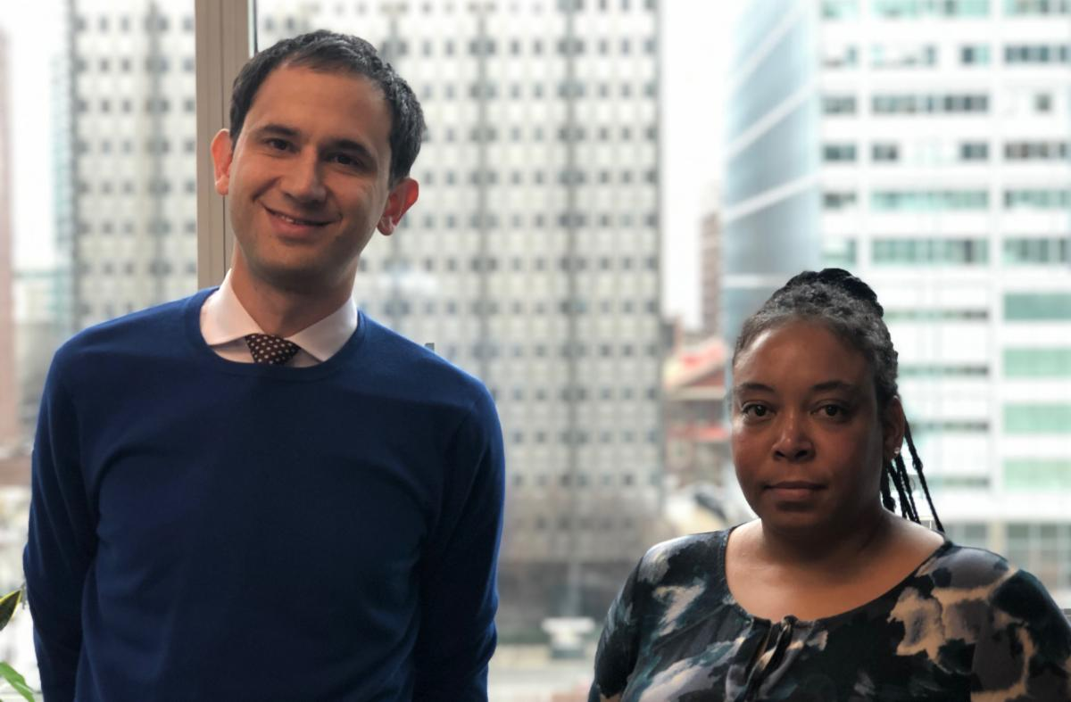 Staff attorney Ben Geffen and client Kim Burrell