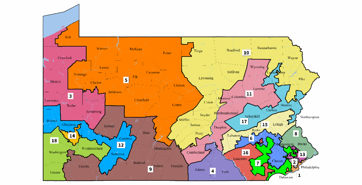 Pennsylvania's gerrymandered 2011 congressional district map