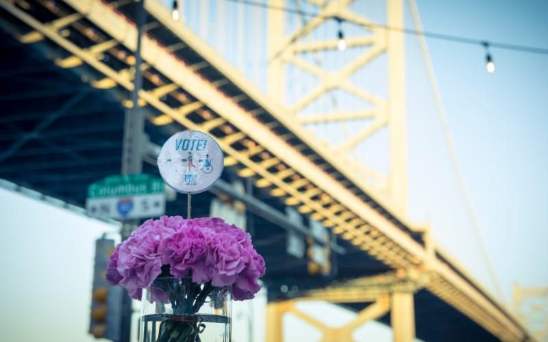 Bridge and flowers