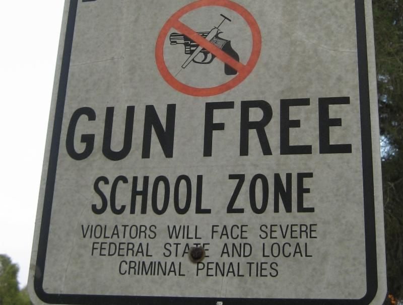 Gun free school zone sign