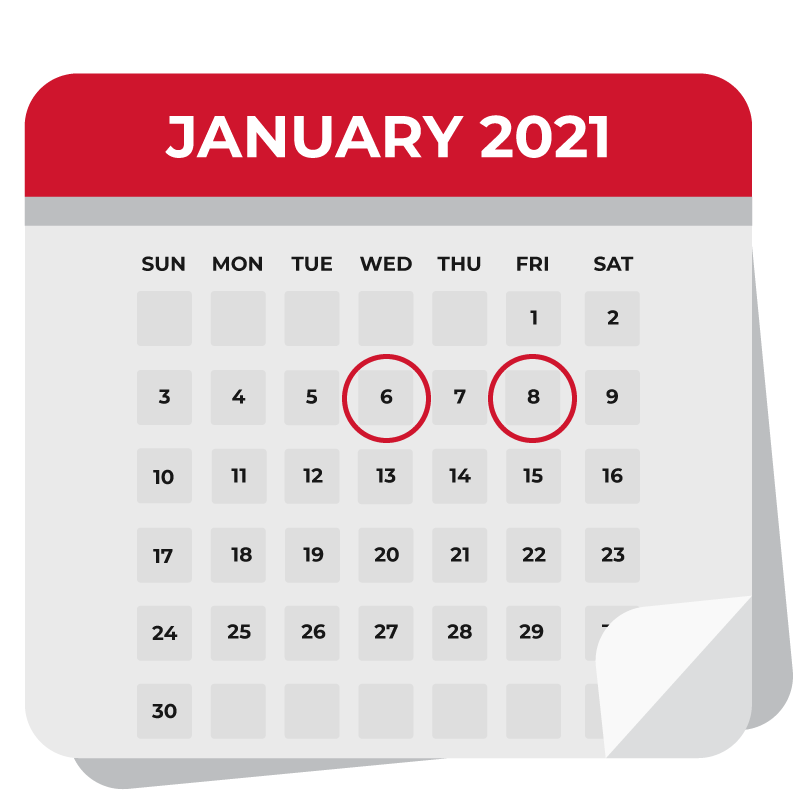 Calendar with January 2021 showing. Dates 1/6 and 1/8 are circled.