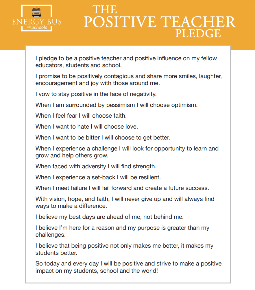 Positive Teacher Pledge
