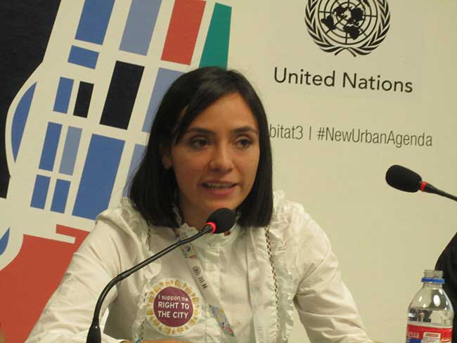Tania Espinosa of WIEGO's Law Programme speaks during Habitat III