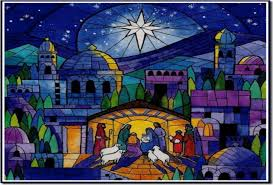 stained glass christmas nativity