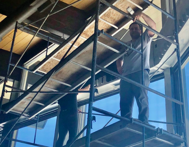 Shanty Creek employees have fun on scaffolding
