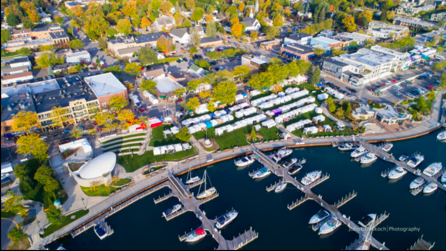 Downtown Charlevoix aerial view