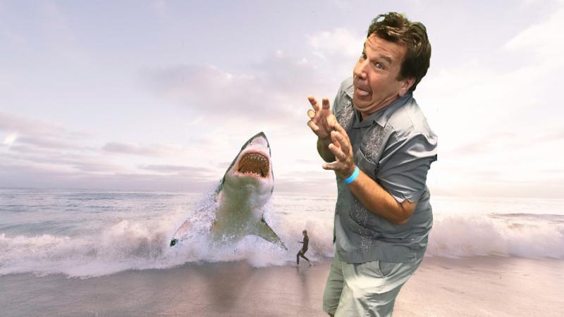 Man running from shark