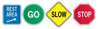 Graphic showing four signs: blue square for rest area, green circle for go, yellow diamond for slow, and red stop sign