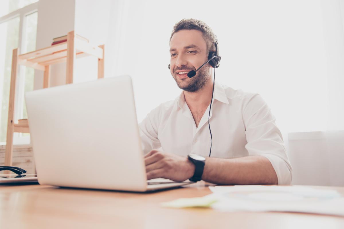 man on webinar virtual meeting