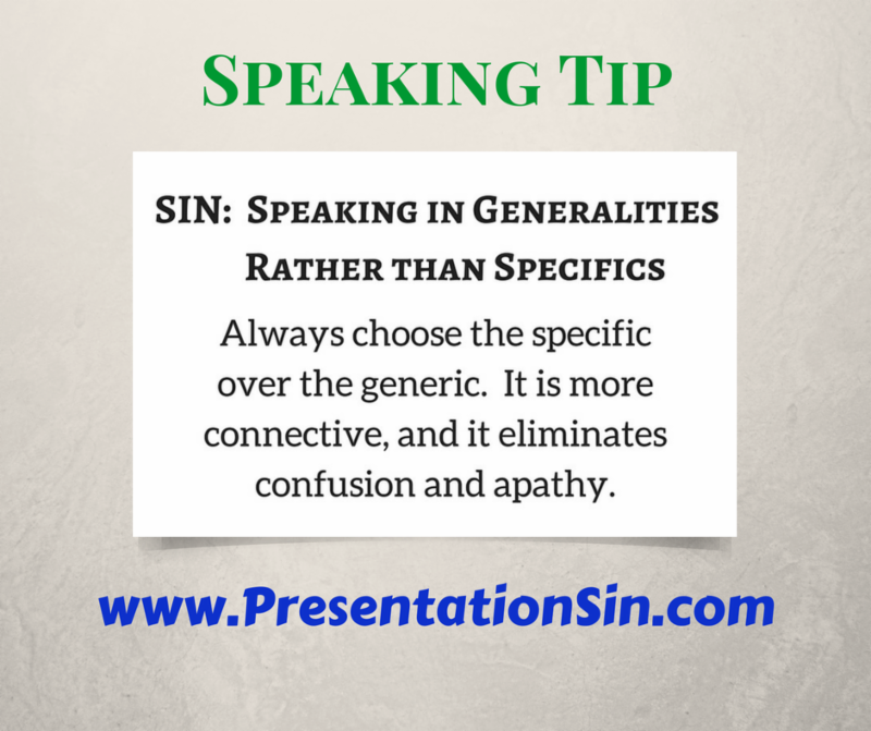 Speaking Tip Be Specific