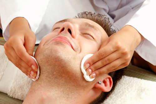 man getting facial