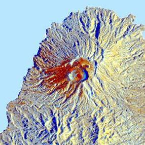Flase color composite imagery showing the extent of ash fall and pyroclastic density currents (PDCs) from the La Soufriere eruption 2021