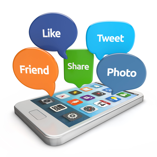 white smartphone with social media bubbles  like_ tweet_ friend_ share_ photo  isolated white background