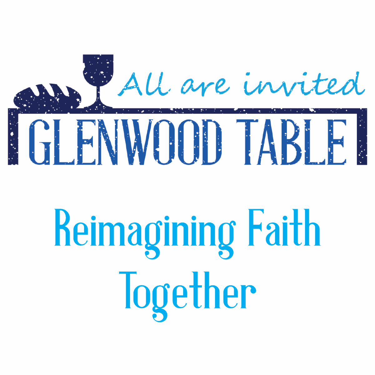 """The logo of Glenwood Table, one of FPC of Glen Cove's partner ministries. It is a white background with words in light blue and navy blue texts. The centerpiece is a navy blue section that says """"Glenwood Table"""" that appears to be under a table."""
