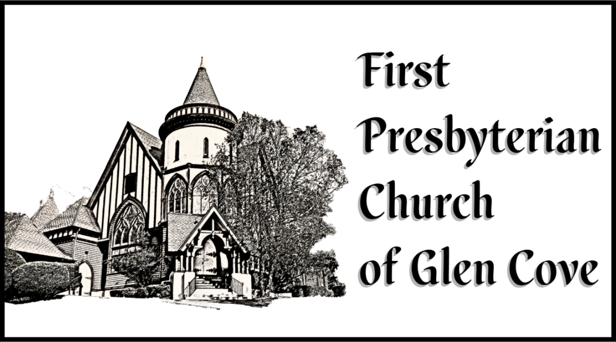 The logo of the First Presbyterian Church of Glen Cove, which is a hand-sketched outline of the church with some of the trees around it.