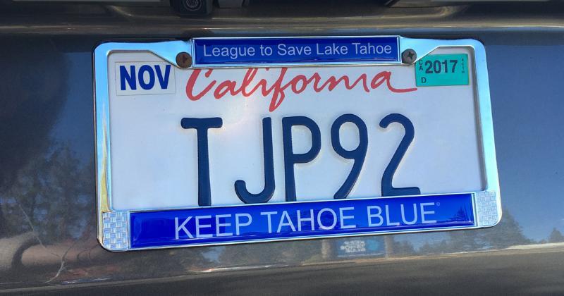Keep Tahoe Blue license plate