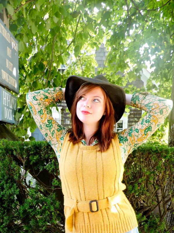 Mustard wool Sweater vest w/ belt, M, $78 . Alex Colman l/s cotton paisley top, $68. Black leather Mexican hat, $95.