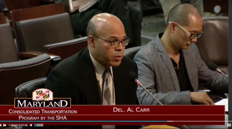 Photo of Del. Al Carr testifying at the 2017 road show