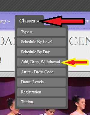 Add Drop Classes Drop Down