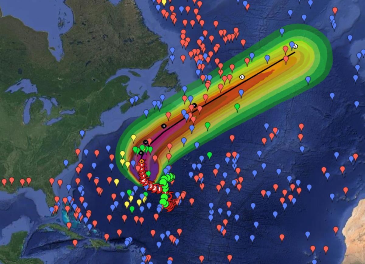 Map showing drifter deployments in hurricane Epsilon path