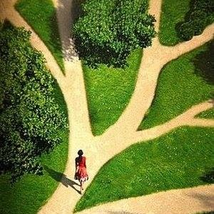 Woman on a path that has multiple ways