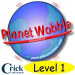 Picture of the planet Earth with the words Planet Wobble Levl 1 Crick Software