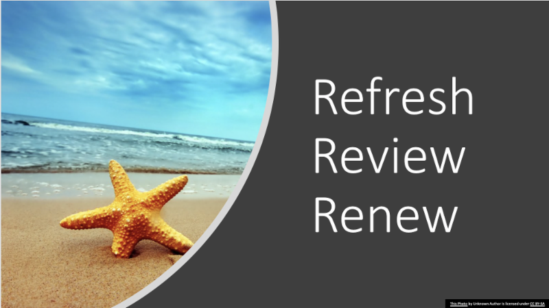 Starfish on beach and the words refresh review and renew