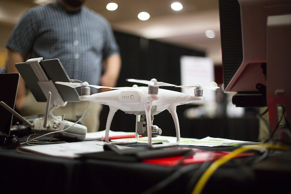 Drone from APSU GIS displayed on table at Ed Tech Day 2018