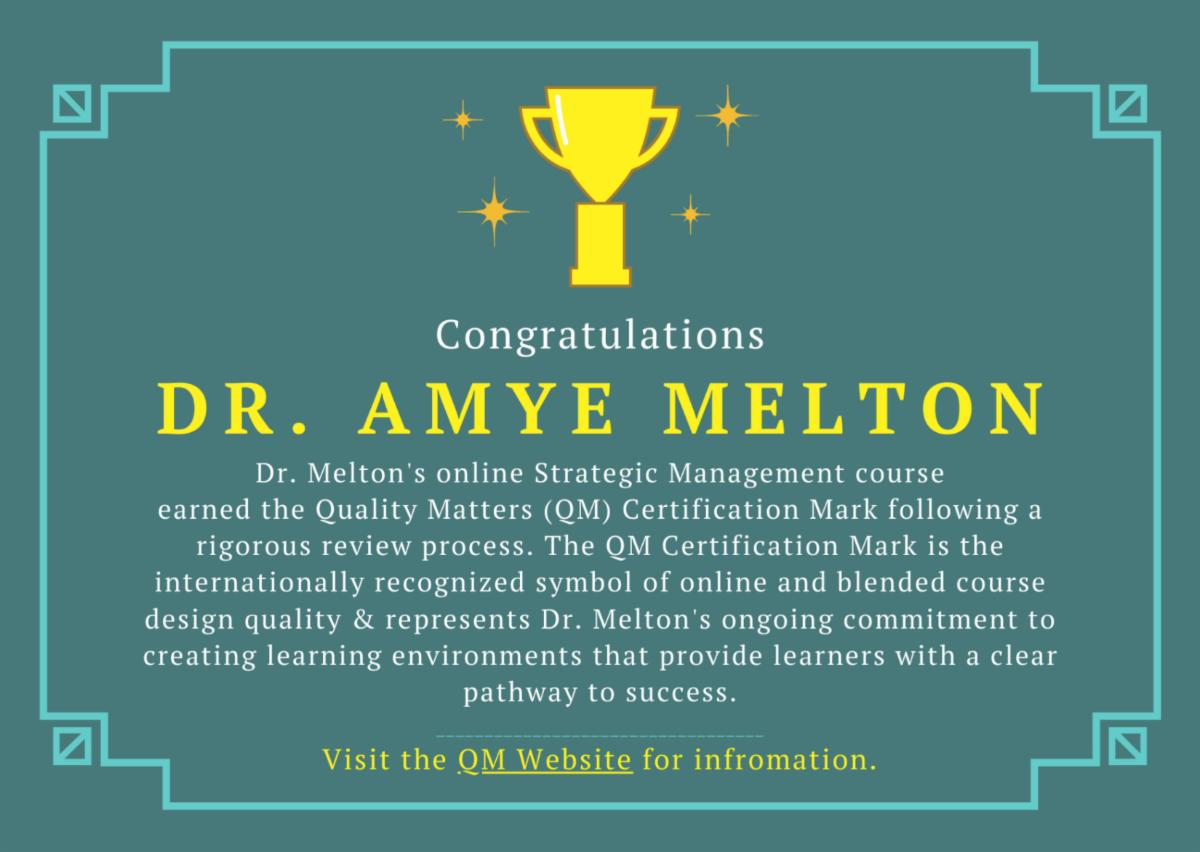 Dr. Amye Melton QM certificate