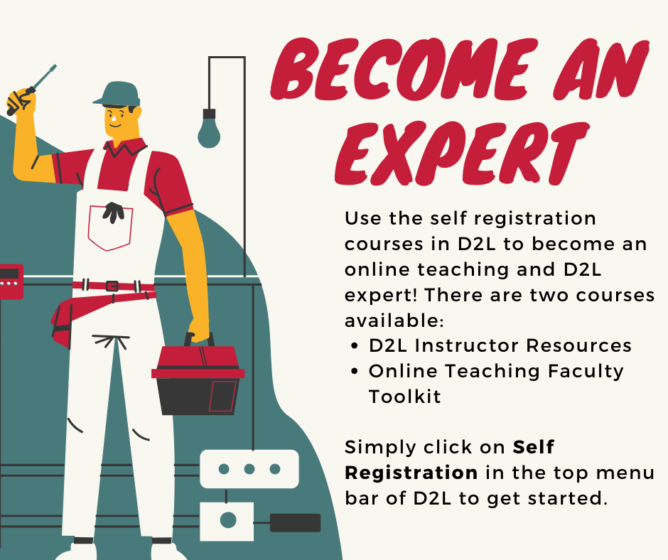 If you want to become an expert on D2L Instructor Resources or Online Teaching Faculty Toolkit simply click on the self registration button in the top menu bar of D2L to get started