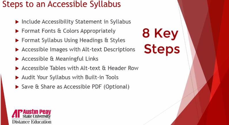 Steps to an accessible syllabus