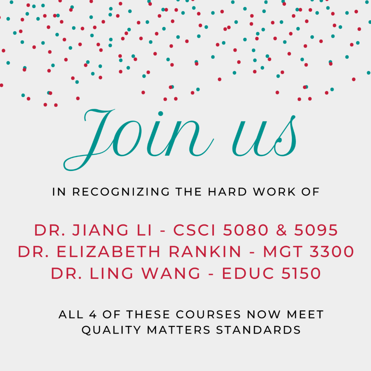 Join us in recognizing the hard work of Doctors Jiang Li Elizabeth Rankin and Ling Wang