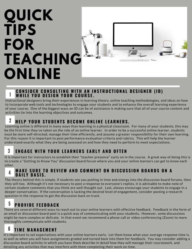 Quick Tips for Teaching Online