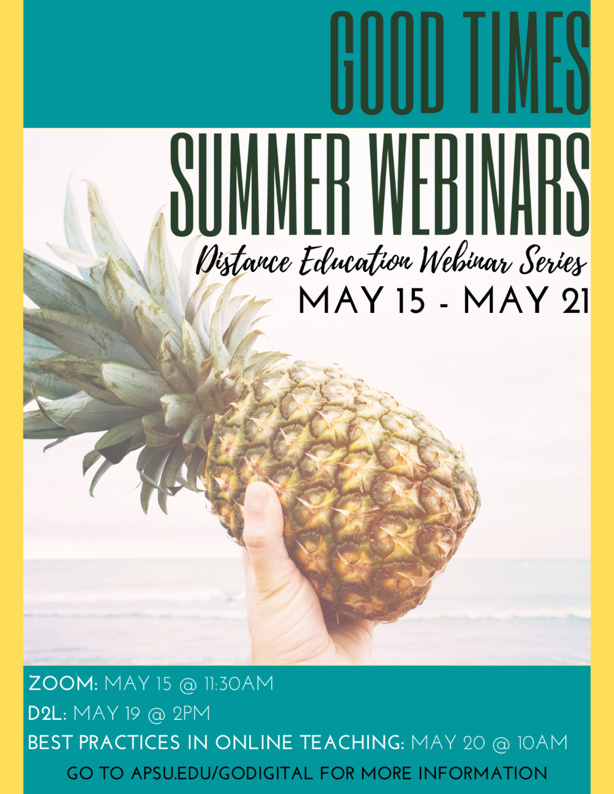 Distance Education will be hosting a webinar to kick off the summer semester please click on this graphic for more information