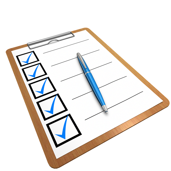 clipboard with blank checklist