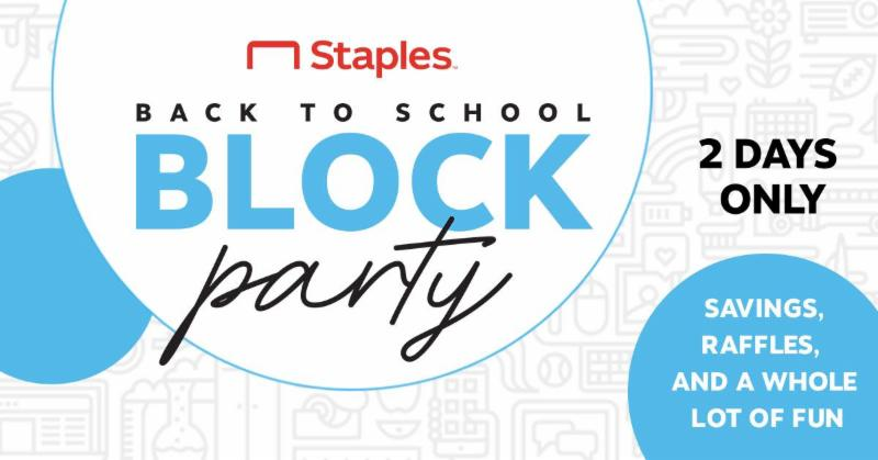 Staples Back to School Block Party - 20% Off School Supplies